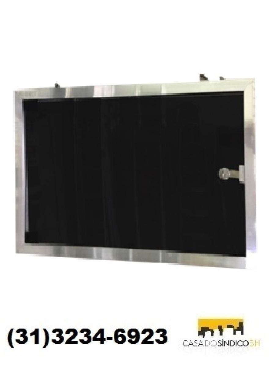 Quadro de avisos 2 folhas com porta acrílico e fechadura