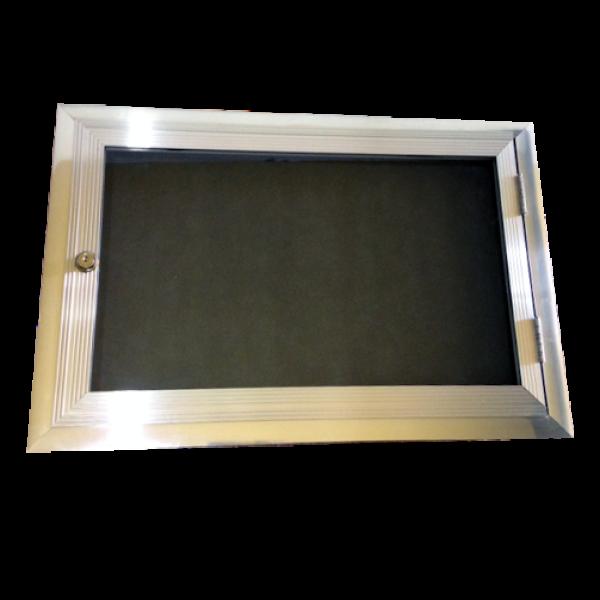 Quadro de avisos 60x80 com porta e fechadura
